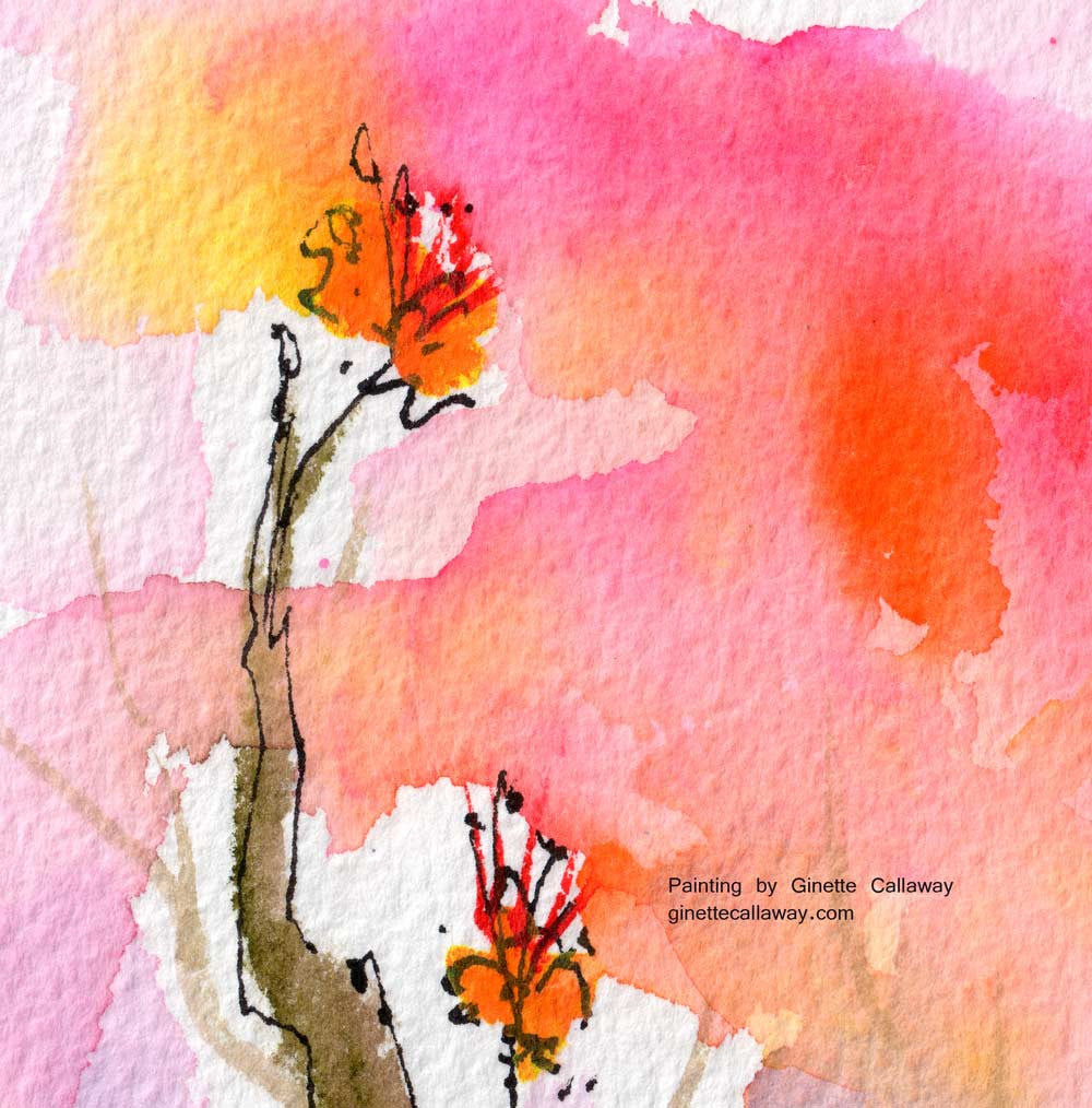 Sweet Hummingbird and Pink Sky Original Watercolor and Ink , Original Painting - Ginette Fine Art, The Art of Ginette Callaway  - 4