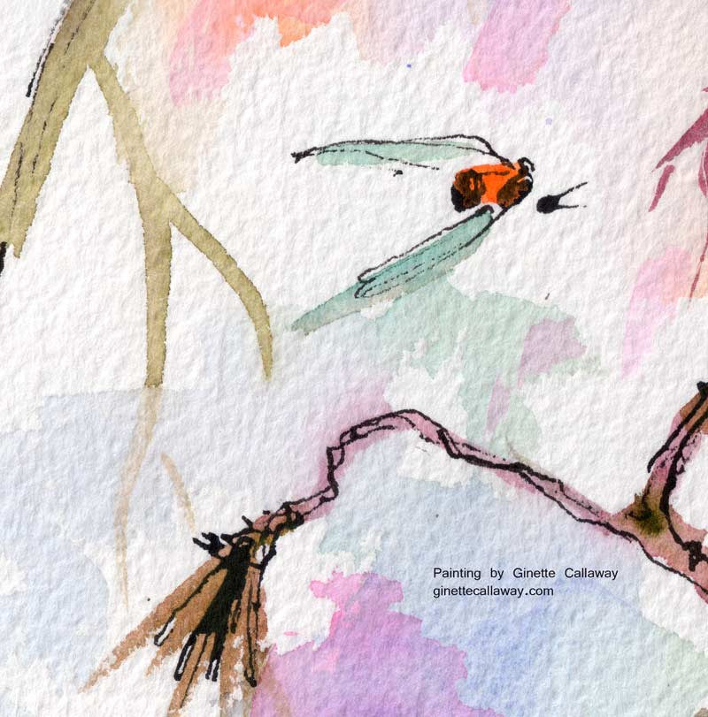 Sweet Hummingbird and Pink Sky Original Watercolor and Ink , Original Painting - Ginette Fine Art, The Art of Ginette Callaway  - 5