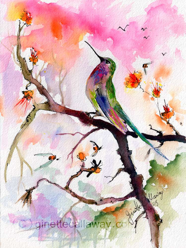 Sweet Hummingbird and Pink Sky Original Watercolor and Ink , Original Painting - Ginette Fine Art, The Art of Ginette Callaway  - 3
