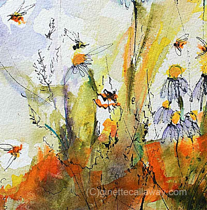 Chamomile Flowers and Bees Original Watercolor and Ink , Original Painting - Ginette Fine Art, The Art of Ginette Callaway  - 2