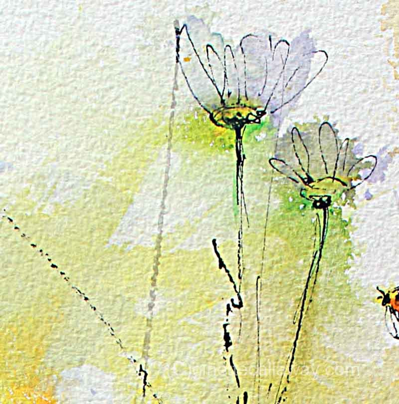 Chamomile Flowers and Bees Original Watercolor and Ink , Original Painting - Ginette Fine Art, The Art of Ginette Callaway  - 3
