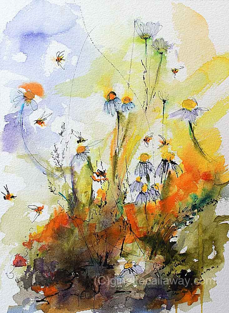 Chamomile Flowers and Bees Original Watercolor and Ink , Original Painting - Ginette Fine Art, The Art of Ginette Callaway  - 4
