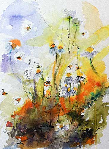Chamomile Flowers and Bees Original Watercolor and Ink , Original Painting - Ginette Fine Art, The Art of Ginette Callaway  - 1