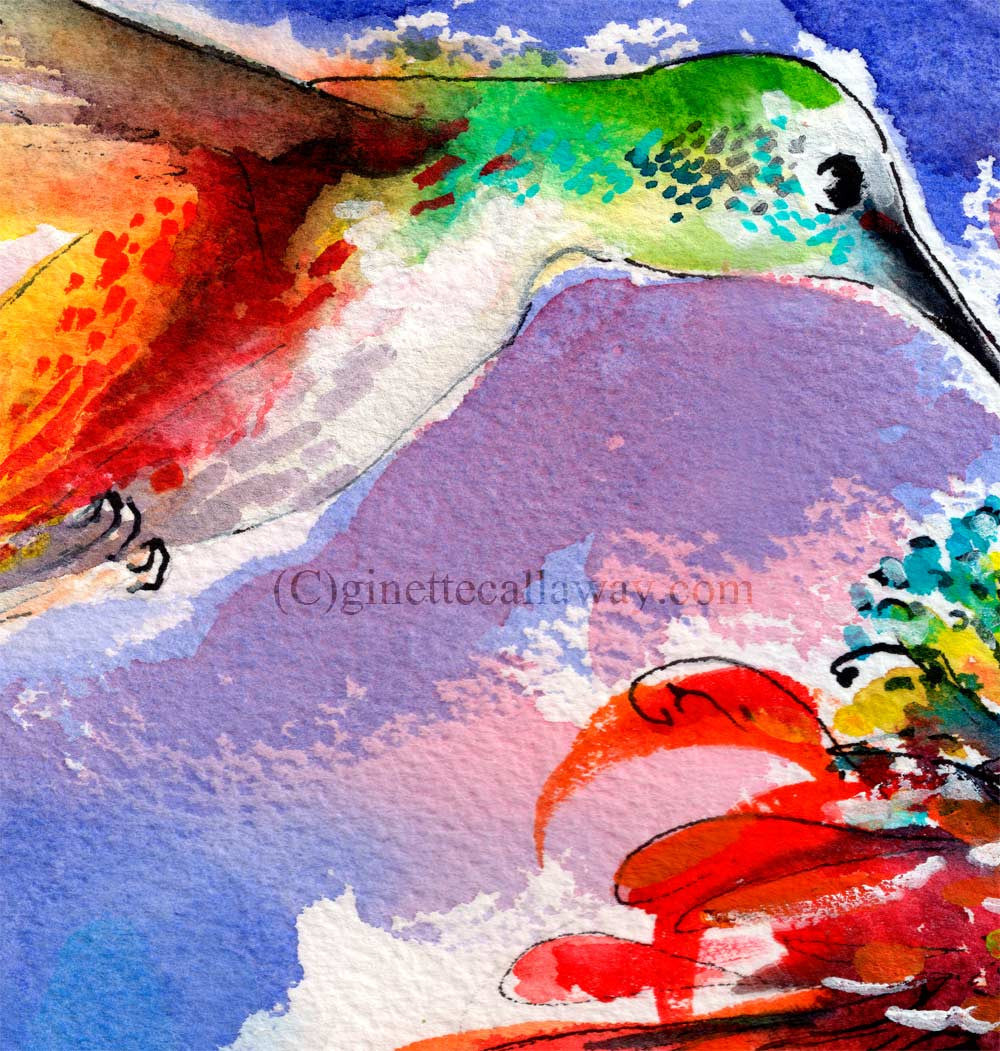 Hummingbird drinking from Red Flower Original Watercolor and Ink , Original Painting - Ginette Fine Art, The Art of Ginette Callaway  - 2