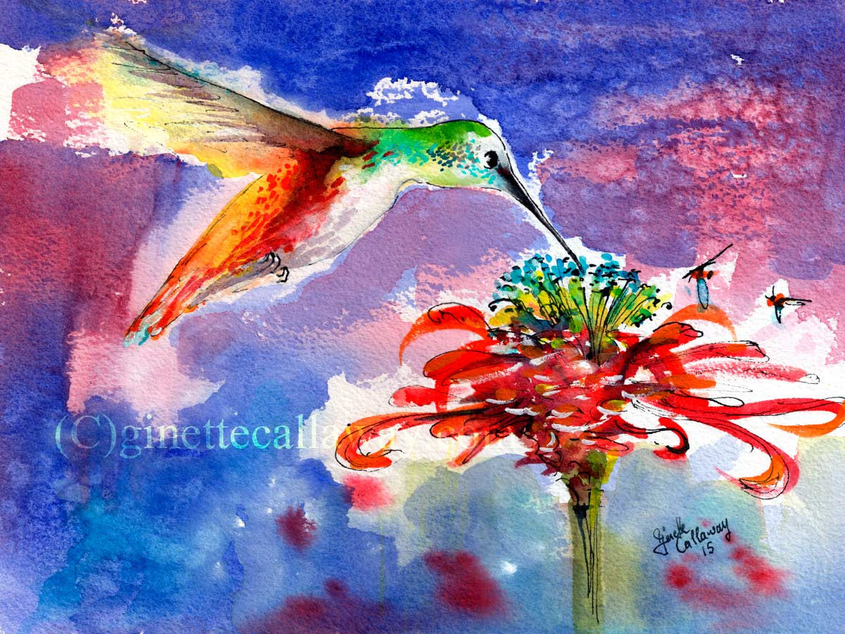 Hummingbird drinking from Red Flower Original Watercolor and Ink , Original Painting - Ginette Fine Art, The Art of Ginette Callaway  - 3