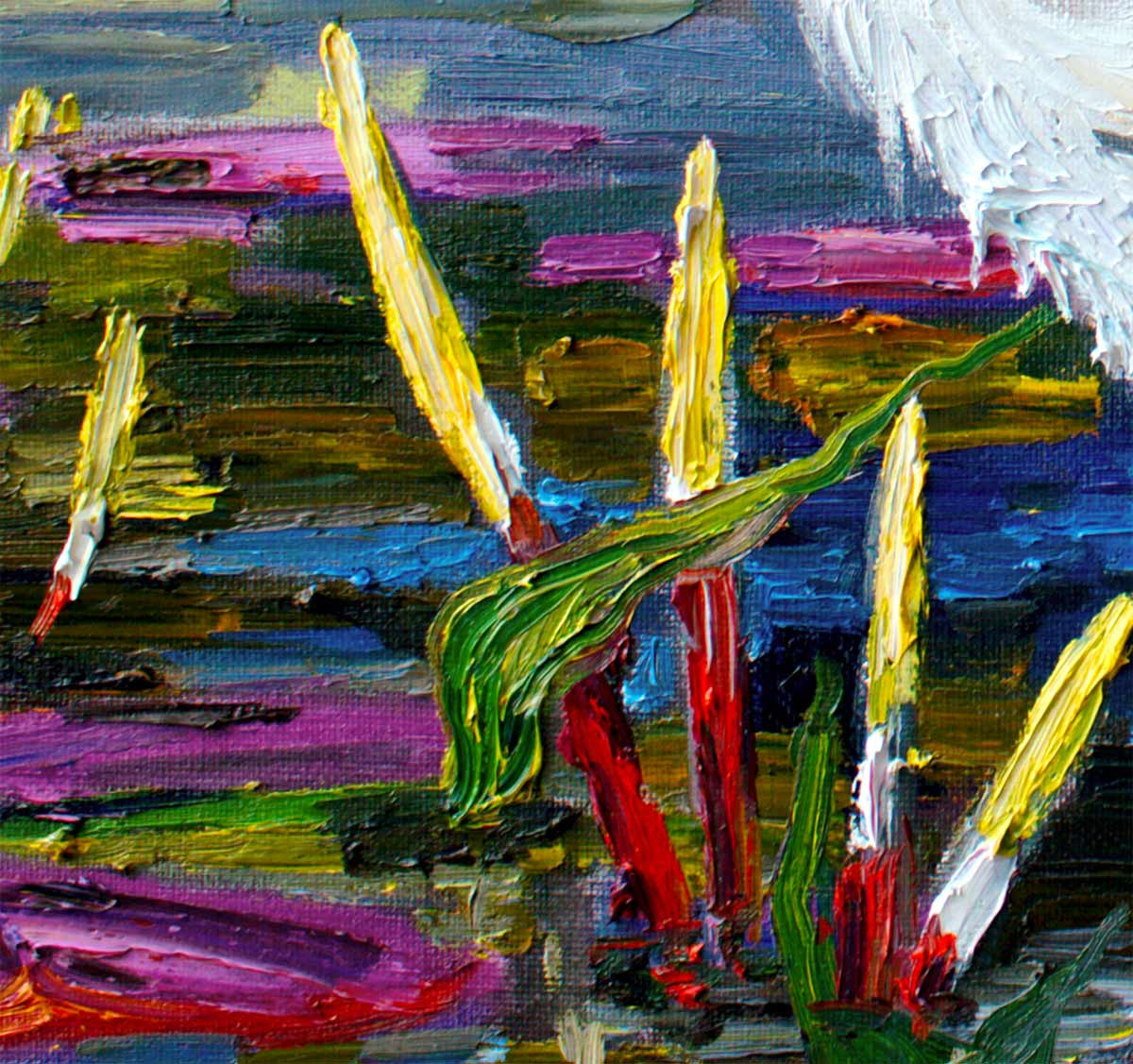 oil painting Impressionist Landscape detail White Heron Bird