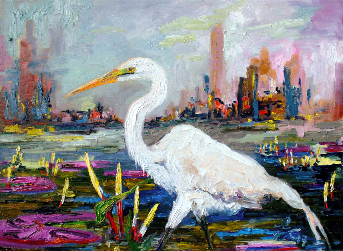Impressionist Landscape and Cityscape with White Heron Bird