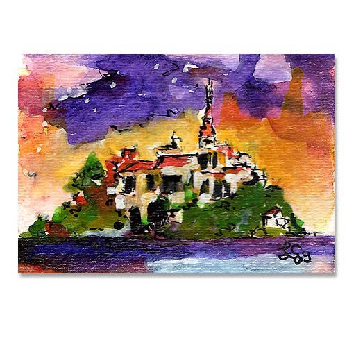 SOLD Mont Saint Michel Normandy Original ACEO by Ginette Callaway - Mixed Media , Original Painting - Ginette Fine Art, The Art of Ginette Callaway  - 1