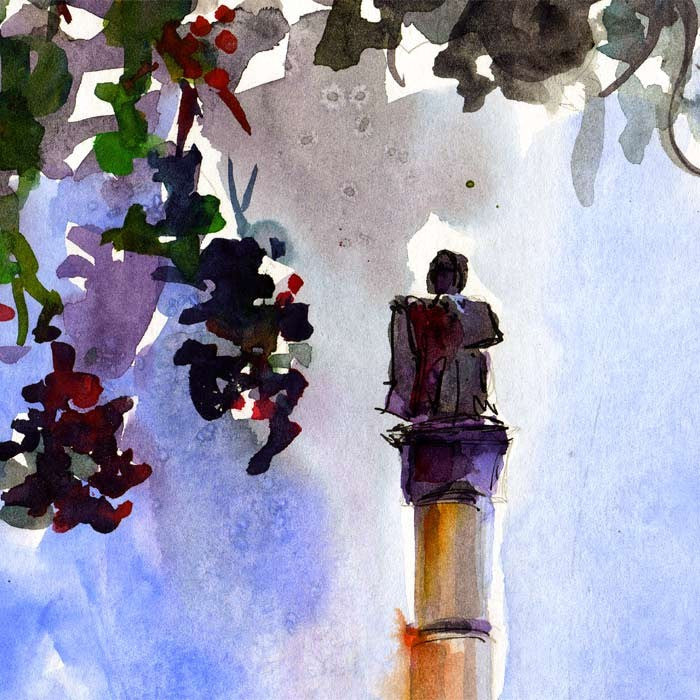 Charleston South Carolina Calhoun Monument Watercolor by Ginette Callaway , Original Painting - Ginette Fine Art, The Art of Ginette Callaway  - 2