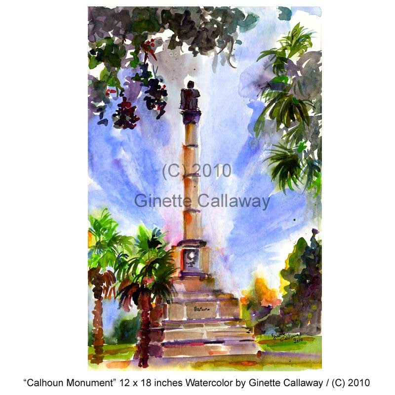 Charleston South Carolina Calhoun Monument Watercolor by Ginette Callaway , Original Painting - Ginette Fine Art, The Art of Ginette Callaway  - 3