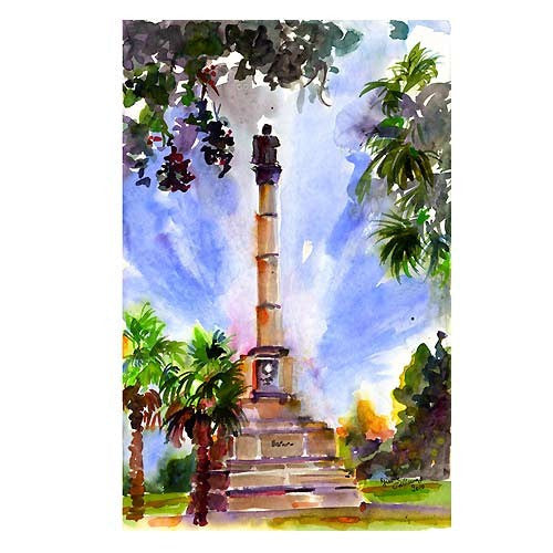 Charleston South Carolina Calhoun Monument Watercolor by Ginette Callaway , Original Painting - Ginette Fine Art, The Art of Ginette Callaway  - 1