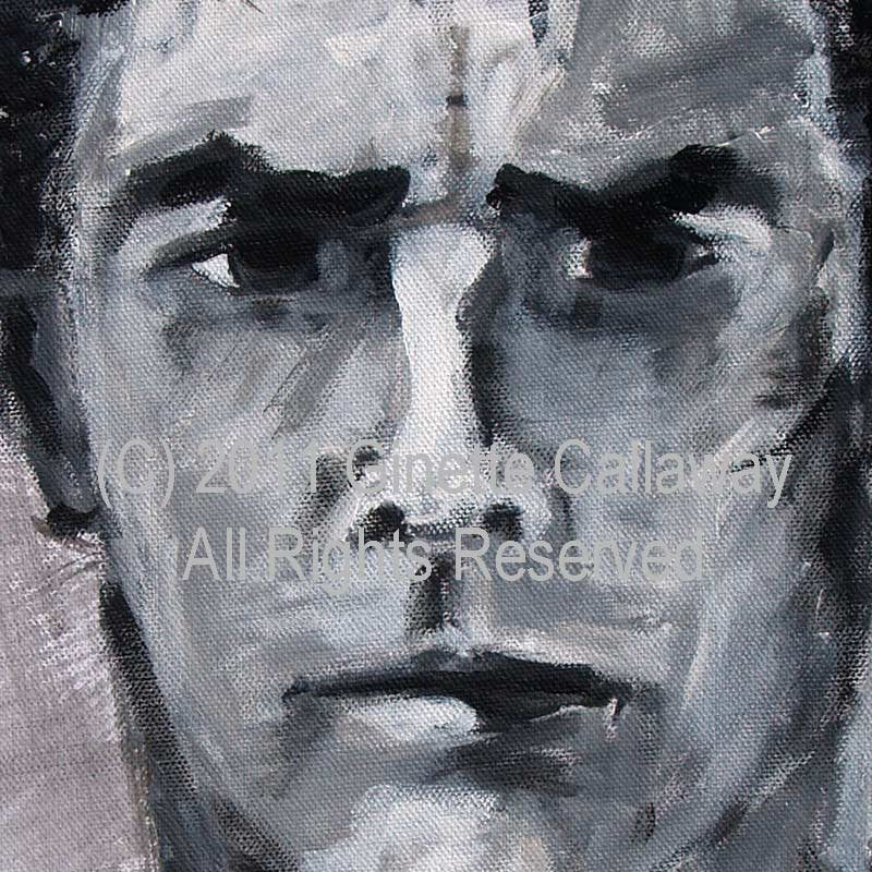 SOLD Criminal Minds Aaron Hotchner ORIGINAL 16 by 20 inch Acrylic Monotone Portrait on Canvas by Ginette , Original Acrylic - Ginette Fine Art, The Art of Ginette Callaway  - 2