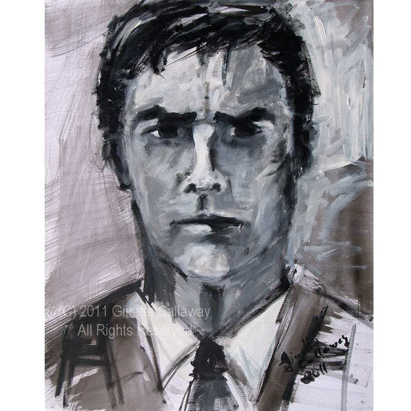 SOLD Criminal Minds Aaron Hotchner ORIGINAL 16 by 20 inch Acrylic Monotone Portrait on Canvas by Ginette , Original Acrylic - Ginette Fine Art, The Art of Ginette Callaway  - 1