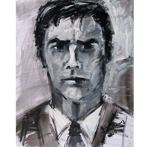 SOLD Criminal Minds Aaron Hotchner ORIGINAL 16 by 20 inch Acrylic Monotone Portrait on Canvas by Ginette , Original Acrylic - Ginette Fine Art, The Art of Ginette Callaway  - 3