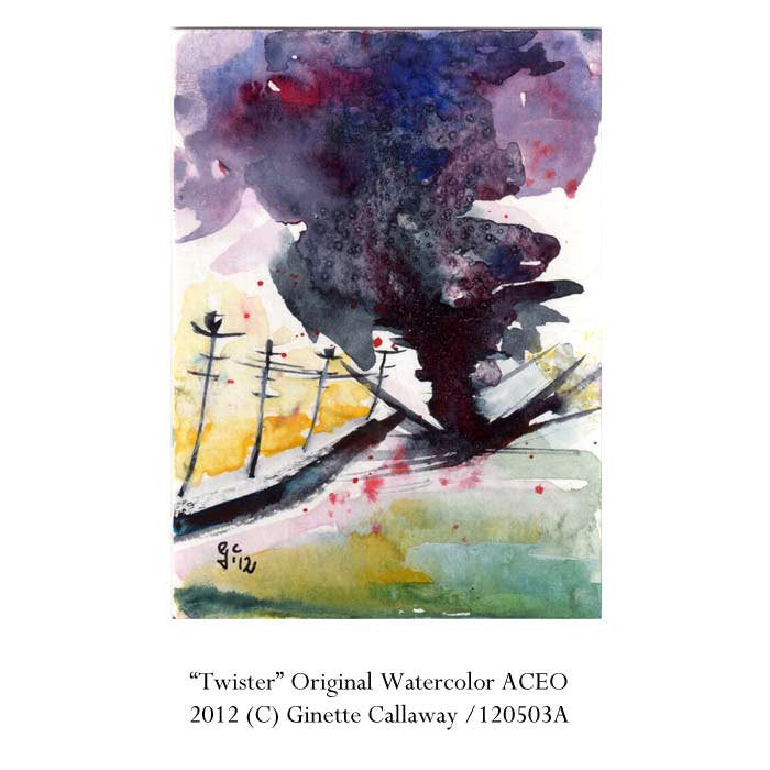 ACEO Twister Tornado Storm Original  Painting by Ginette Callaway Watercolor and Ink , Original Painting - Ginette Fine Art, The Art of Ginette Callaway  - 2