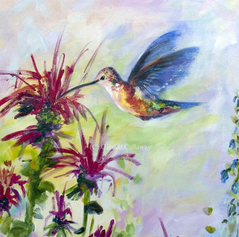 Hummingbird on bee balm flowers mural size original for Definition of a mural