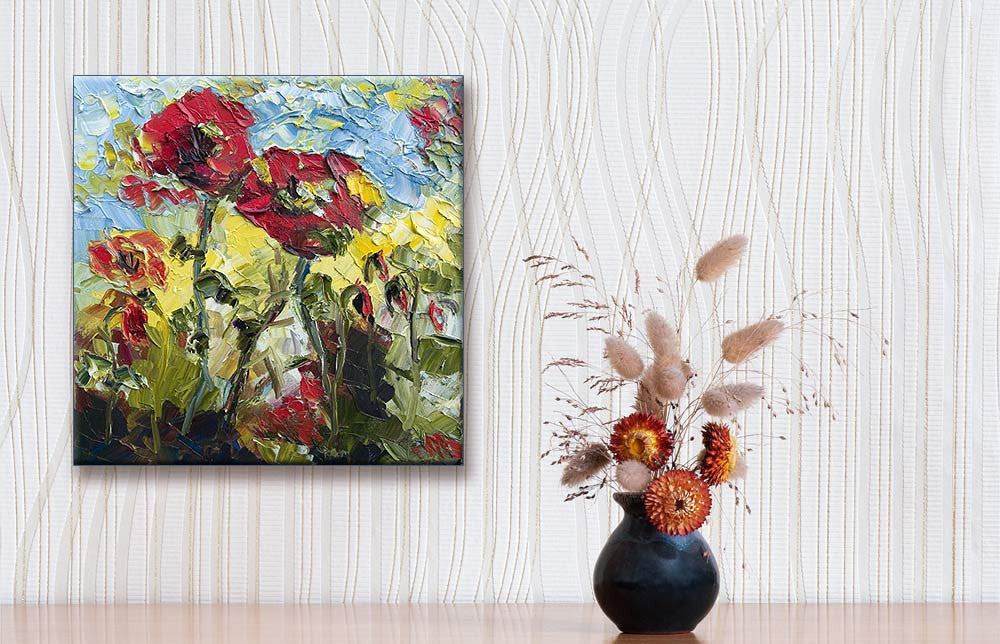 Red Poppies 12 by 12  Original Oil Painting Palette Knife by Ginette , Original Painting - Ginette Fine Art, The Art of Ginette Callaway  - 5