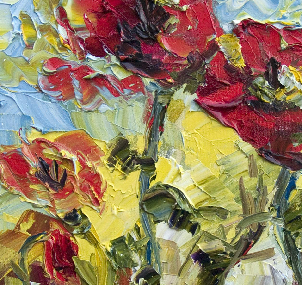 Red Poppies 12 by 12  Original Oil Painting Palette Knife by Ginette , Original Painting - Ginette Fine Art, The Art of Ginette Callaway  - 4