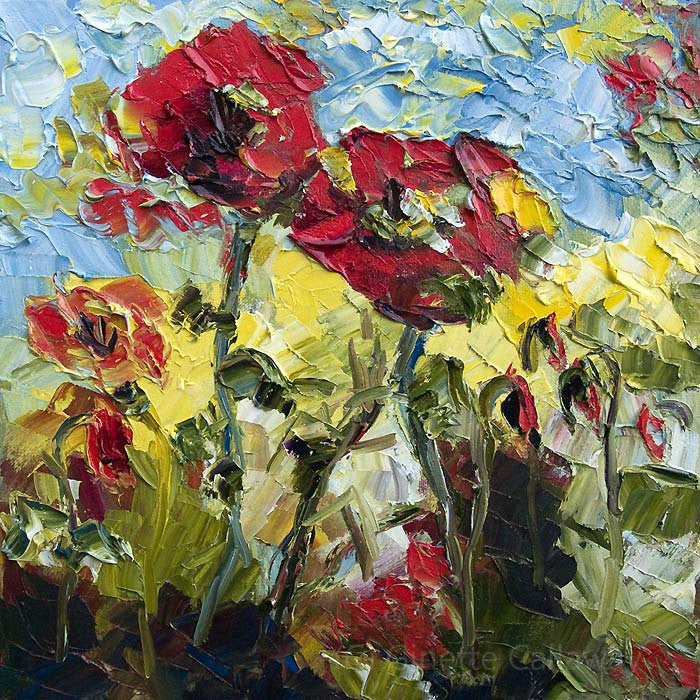 Red Poppies 12 by 12  Original Oil Painting Palette Knife by Ginette , Original Painting - Ginette Fine Art, The Art of Ginette Callaway  - 2