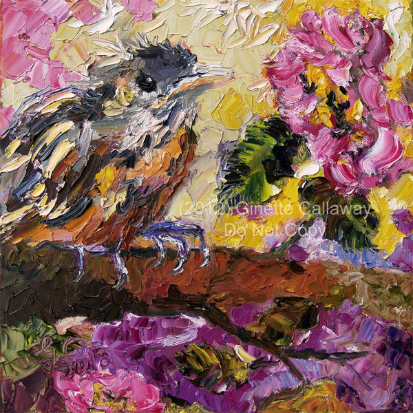 Brown Trasher Baby Bird Impressionist Oil Knife Painting