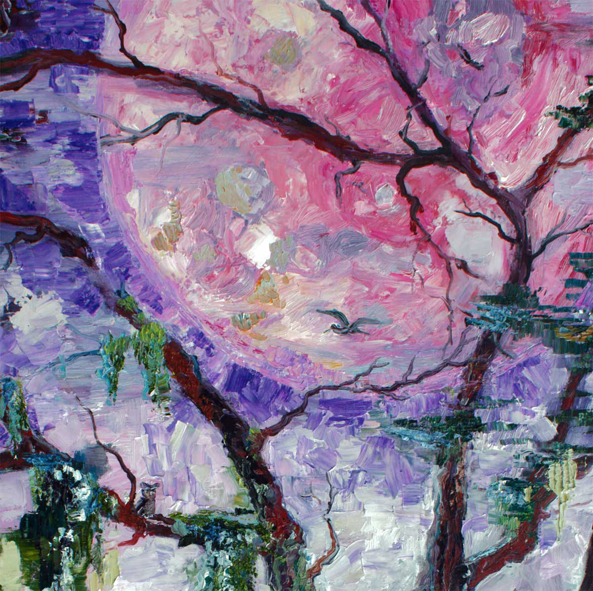 Original Oil Painting Pink Moon In The Garden Of Good And Evil