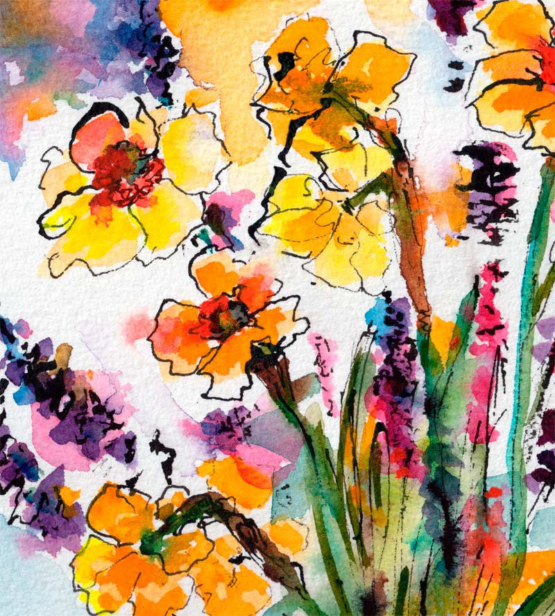 Spring Watercolor Daffodils and Lavender detail