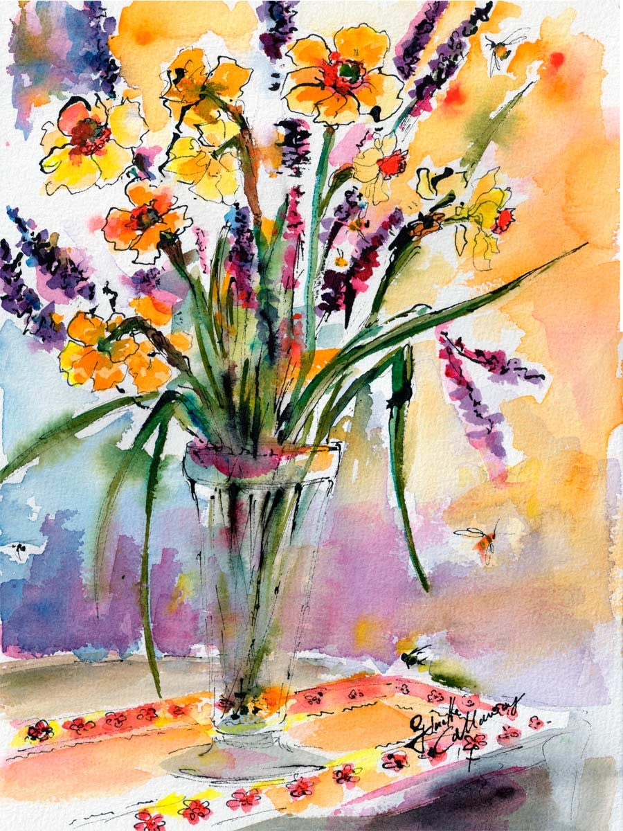 Spring Watercolor Daffodils and Lavender
