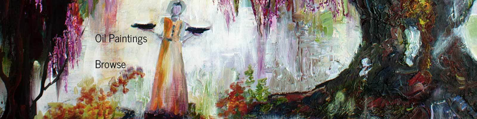 Pink Moon in the garden of good and evil impressionist oil painting