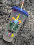 Unicorn Starbucks Frosted Reusable Cups - Cupping It Real