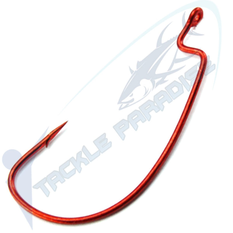 Blood Weedless Wide Gap Worm Fishing Hooks 20 PACK