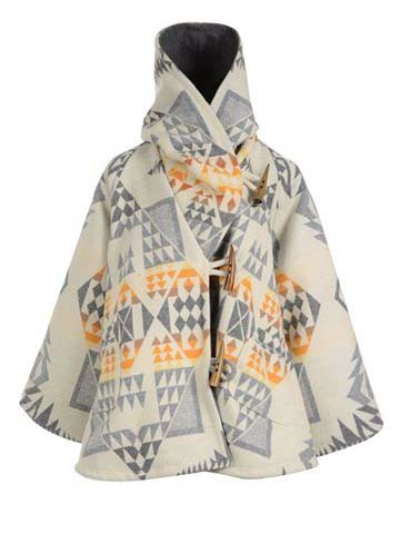Women's Geometric Print Western Series Woolen Coat