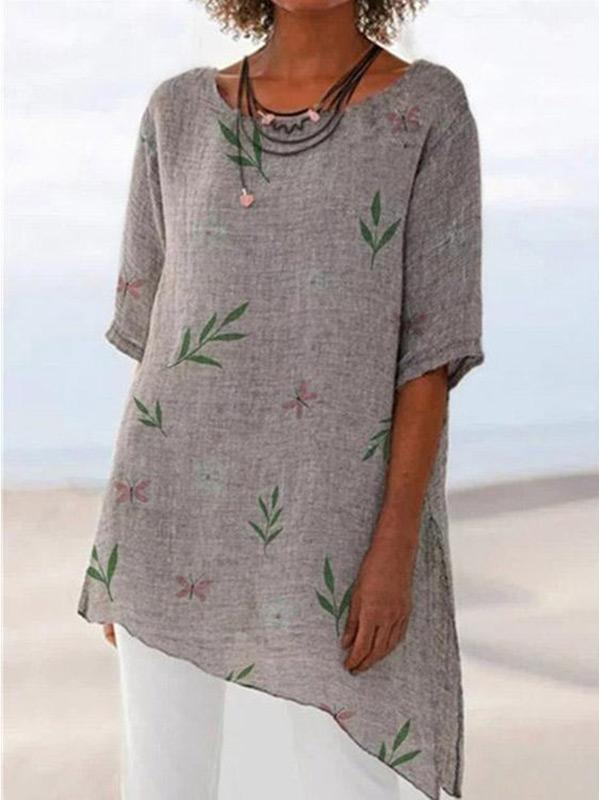 Women's cotton and linen retro floral print round neck T-shirt