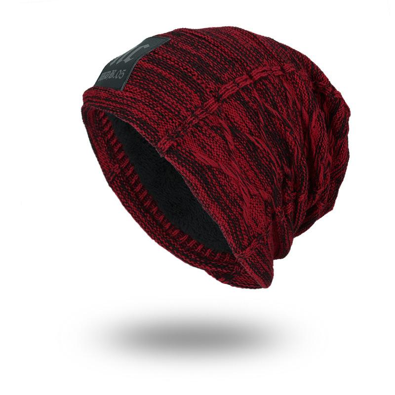 Men's outdoor velvet warm knitted fashion hat