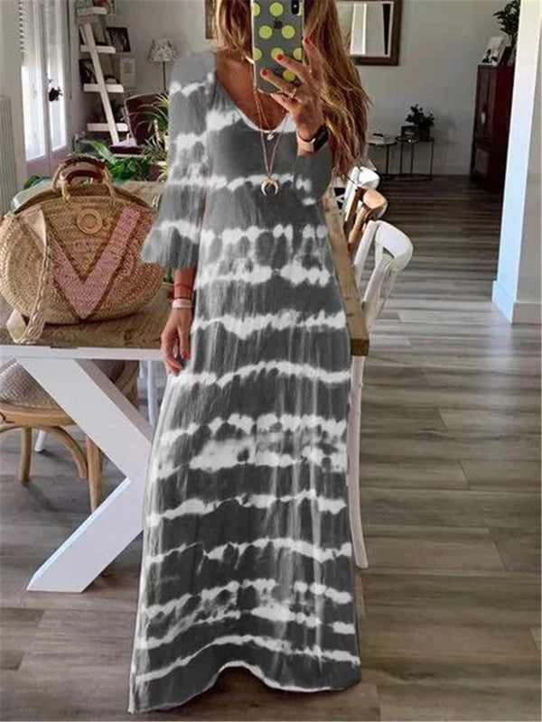 Casual Striped Print V Neck Maxi Dresses