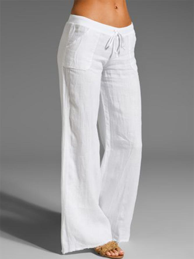 Woman Linen Casual Sweet Solid Pants