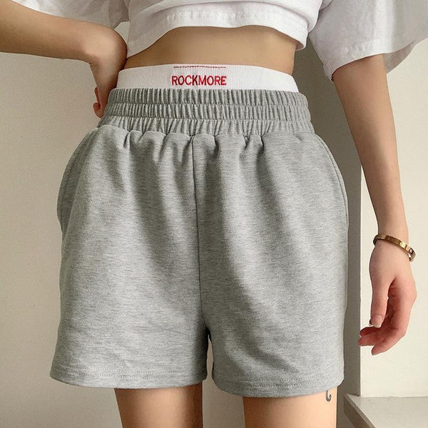 Letter embroidery high waist slim casual shorts