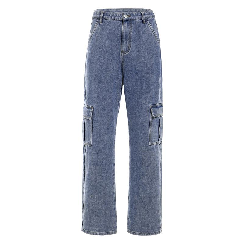 High waist multi-pocket casual tooling jeans