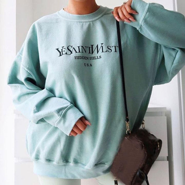 Women's Fashion Round Collar Long Sleeves Casual Sweatshirt
