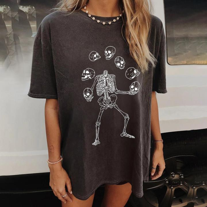 Casual fashion round neck loose cotton T-shirt