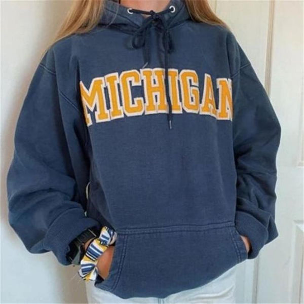 Women's long-sleeved hooded English alphabet sweatshirt
