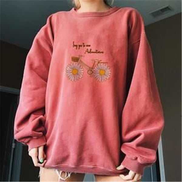 Women's long sleeve round neck printed sweatshirt