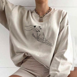Hand bone claw designer printed loose sweatshirt