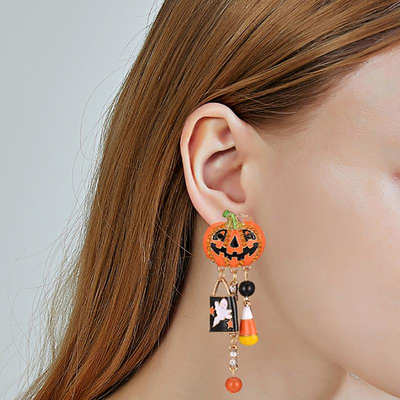 Halloween pumpkin alloy tassel earrings