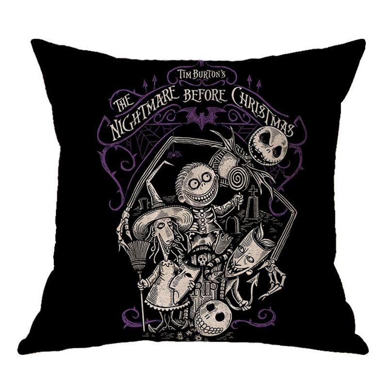 Halloween skull witch printed flax pillowcase