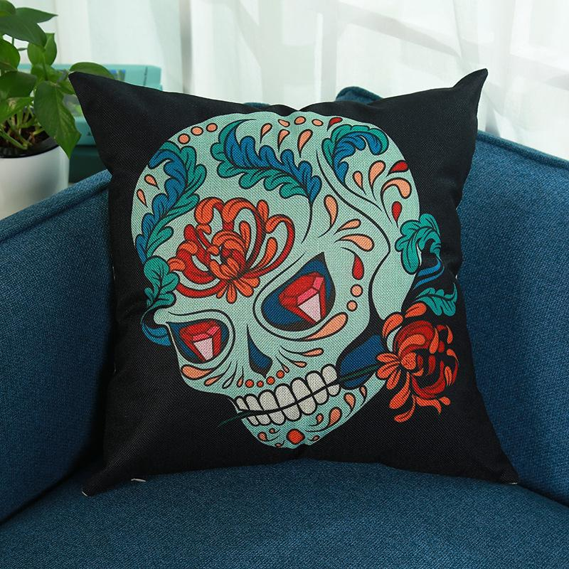 Halloween skull printed cotton and linen pillowcase