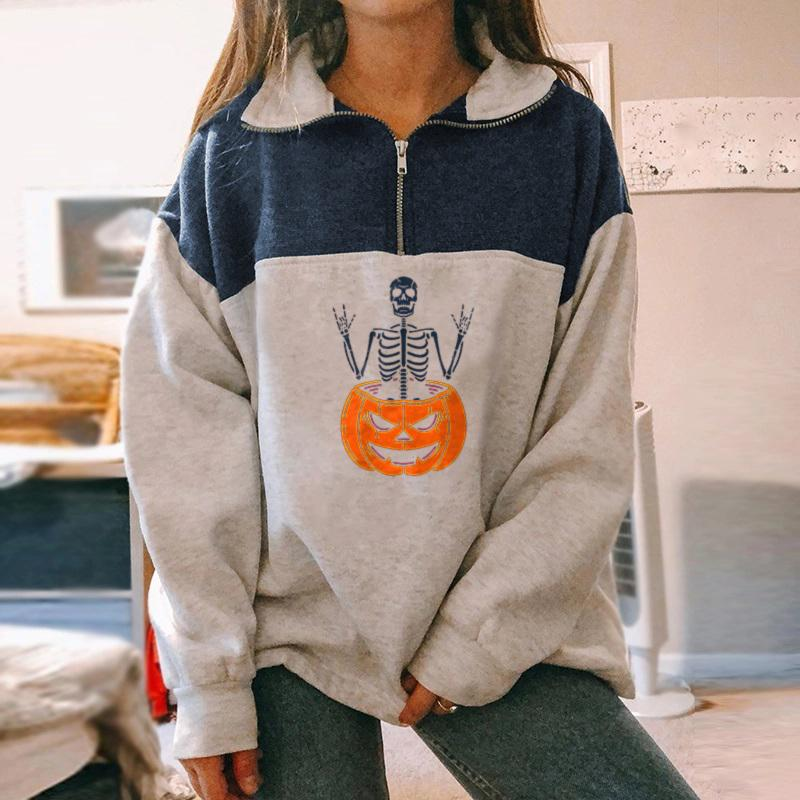 Skeleton pumpkin designer print zipper sweatshirt