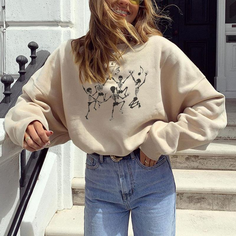 Dancing skeletons designer print loose sweatshirt