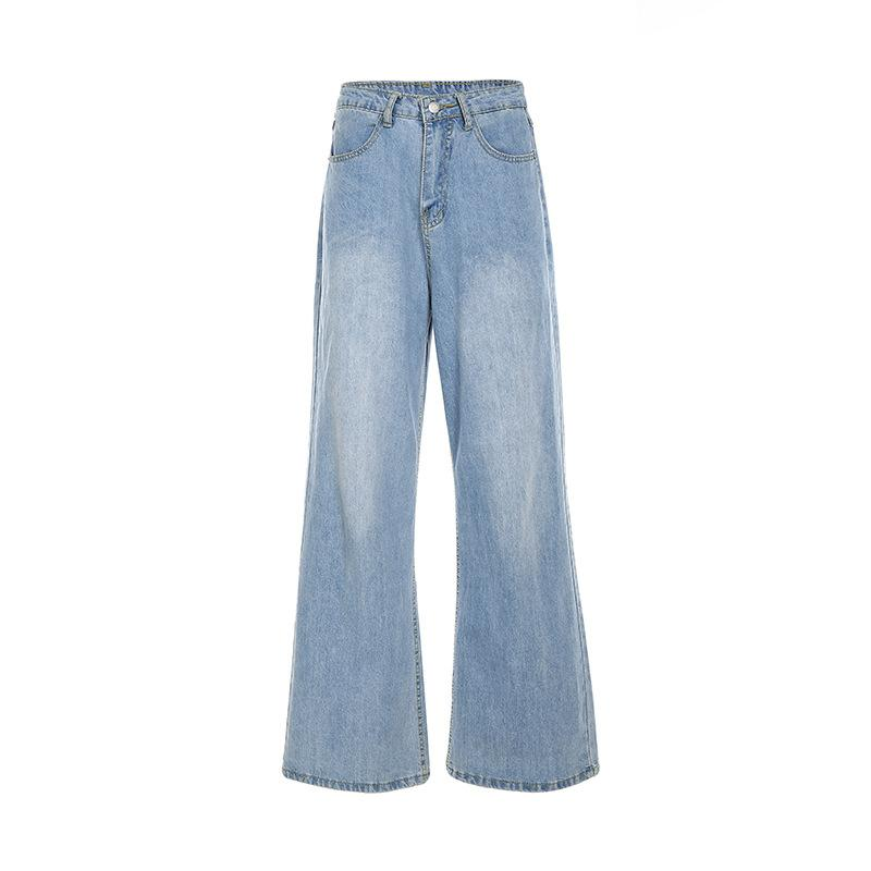 High waist loose slim straight-leg jeans