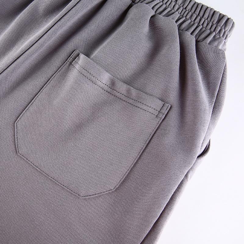 Solid color drawstring sportive casual pants