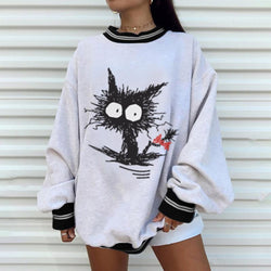 Round collar black cat printed sweatshirt designer